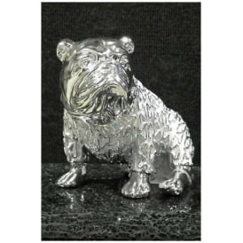 Silver Sitting Bulldog Ornament