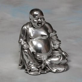 Silver Sitting Happy Buddha