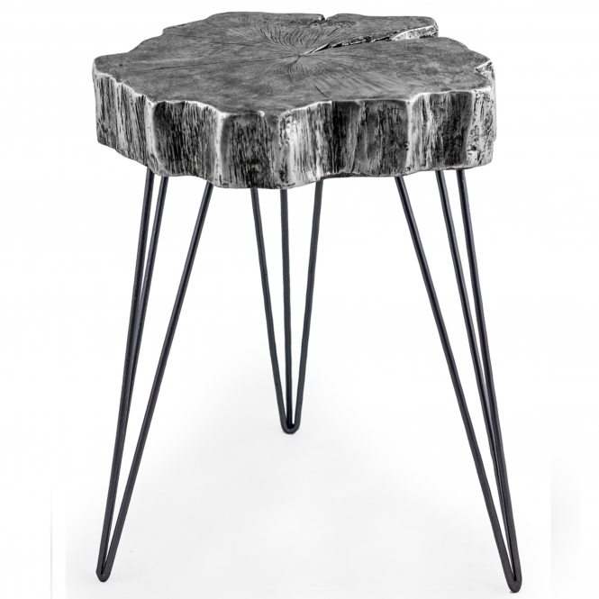 Silver Tree Trunk Side Table