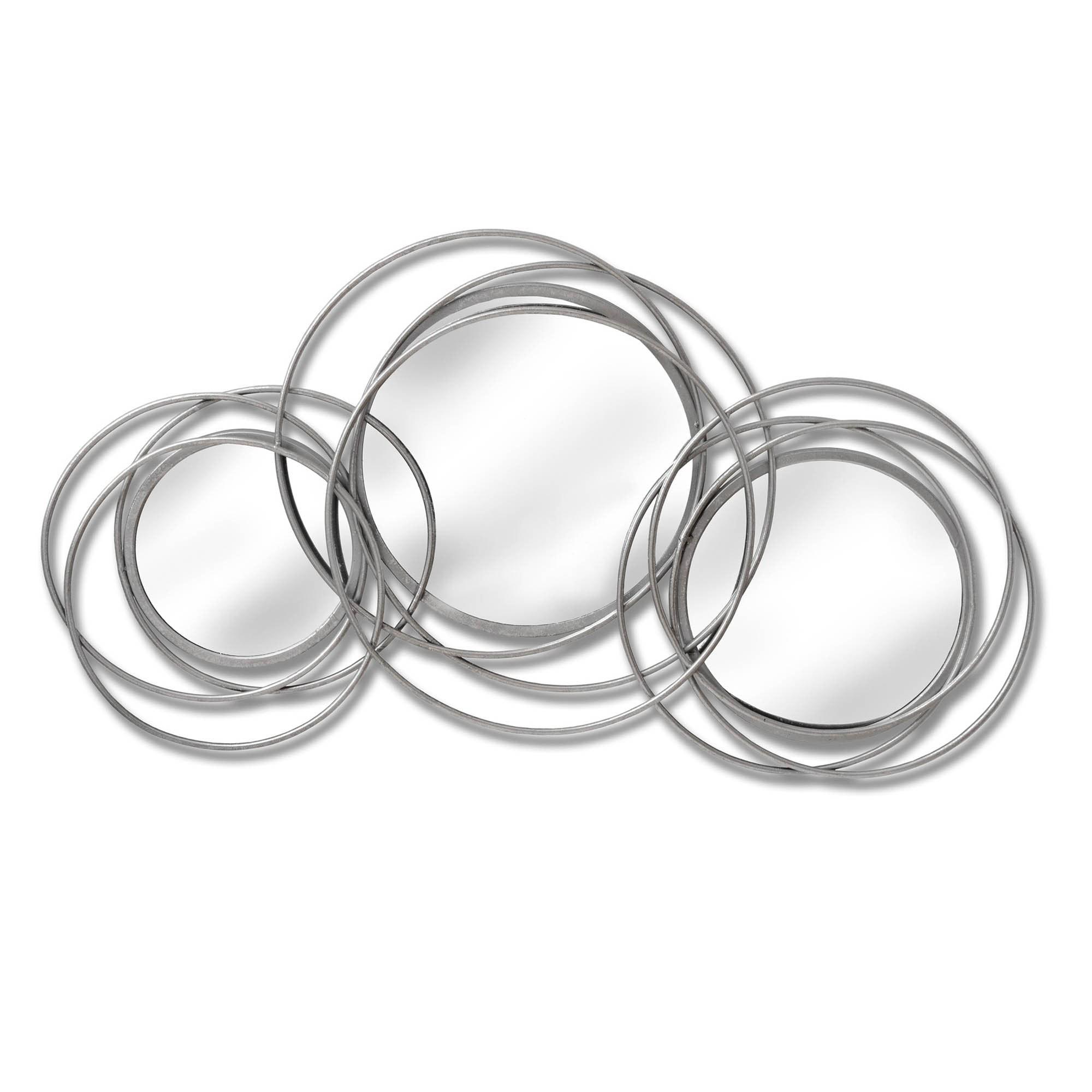 Silver Trio Multi Circled Wall Art Mirror Trio Mirror Round Mirrors