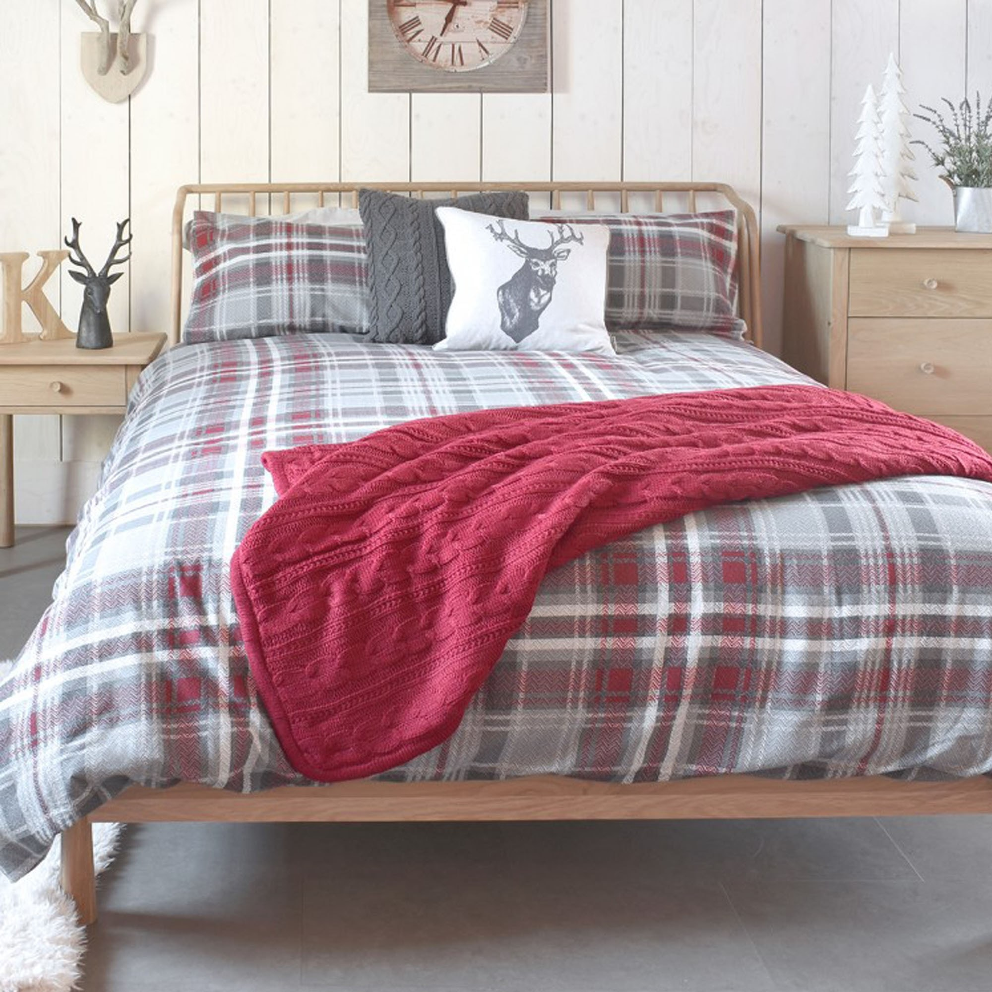 Skye Check Brushed Cotton Grey Red Quilt Cover Set
