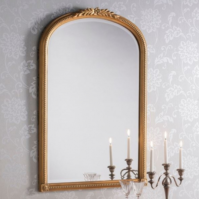 Slim Antique French Style Gold Mirror