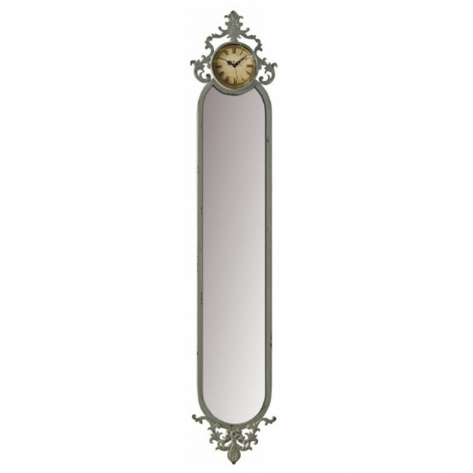 Slim Line Mirror With Clock