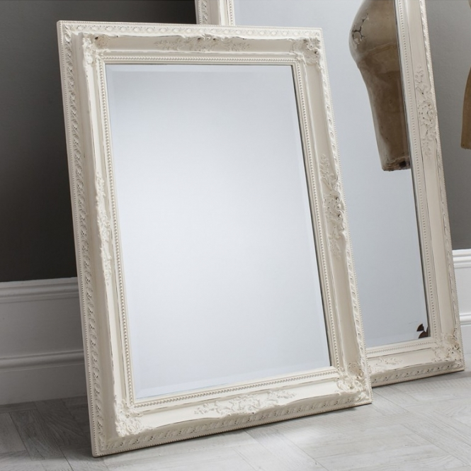 Small Antique French Style White Buckingham Wall Mirror