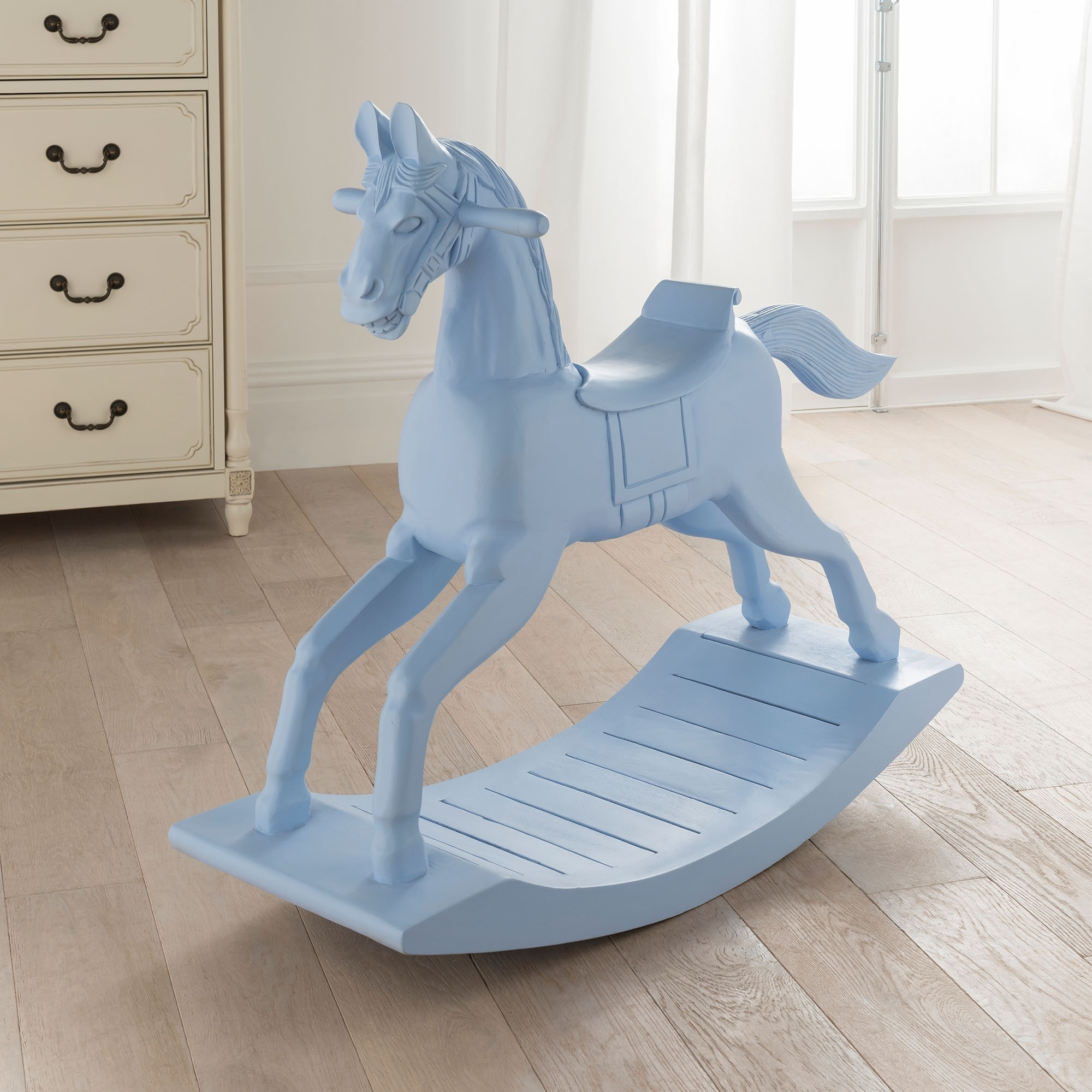 Small Blue Wooden Rocking Horse French Style Accessories