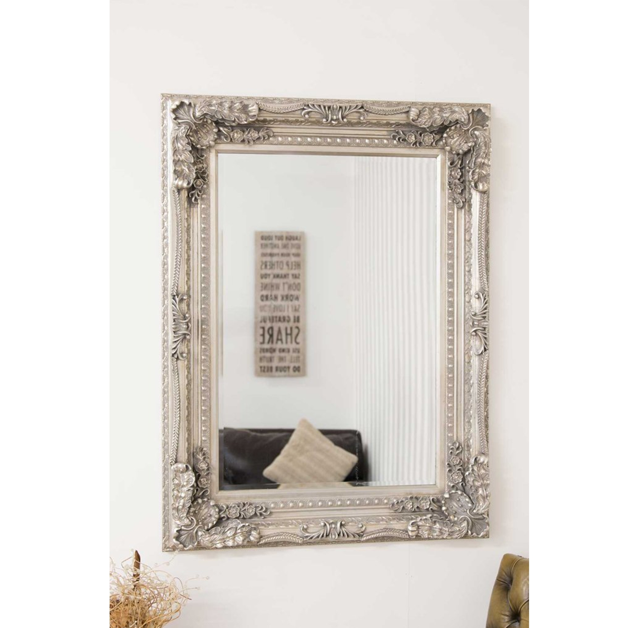 Small Carved Silver Louis Antique French Style Mirror