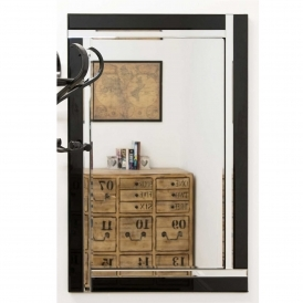Small Contemporary Black Venetian Mirror