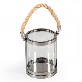 Small Glass & Steel Rope Lantern