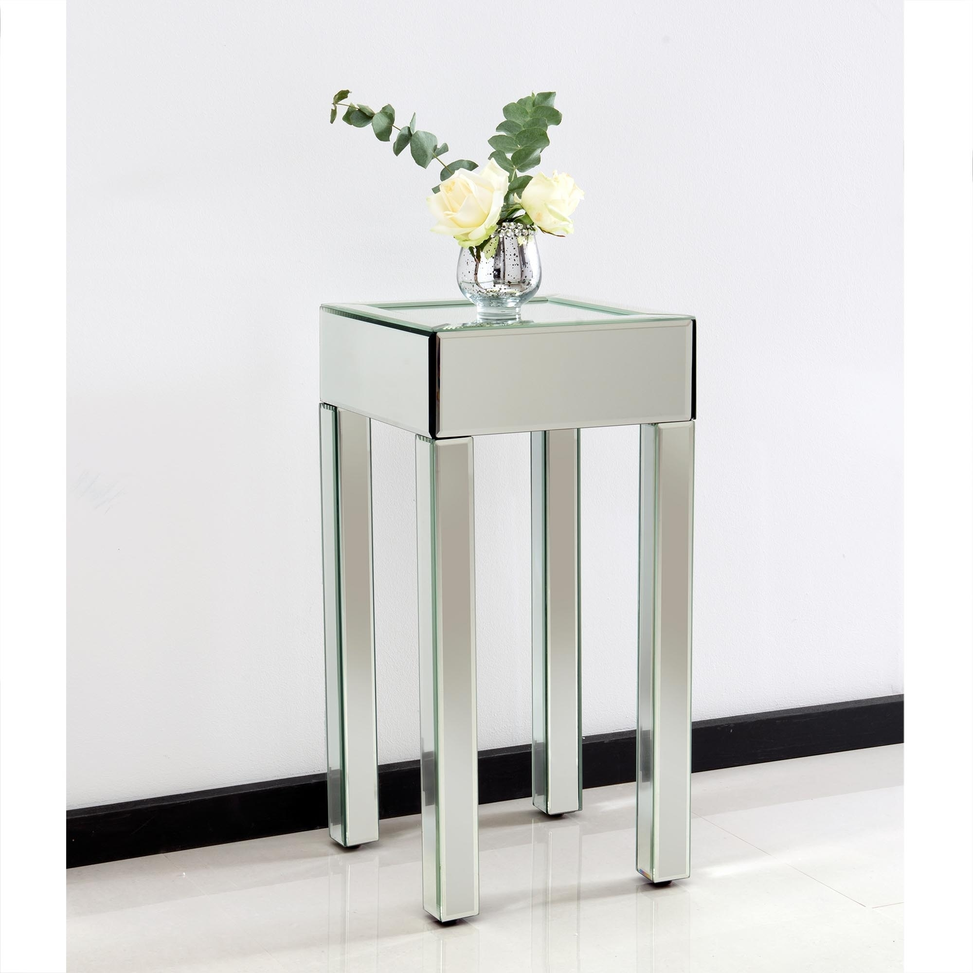 with stylish side way bedside furniture of table gold mirrored mirror