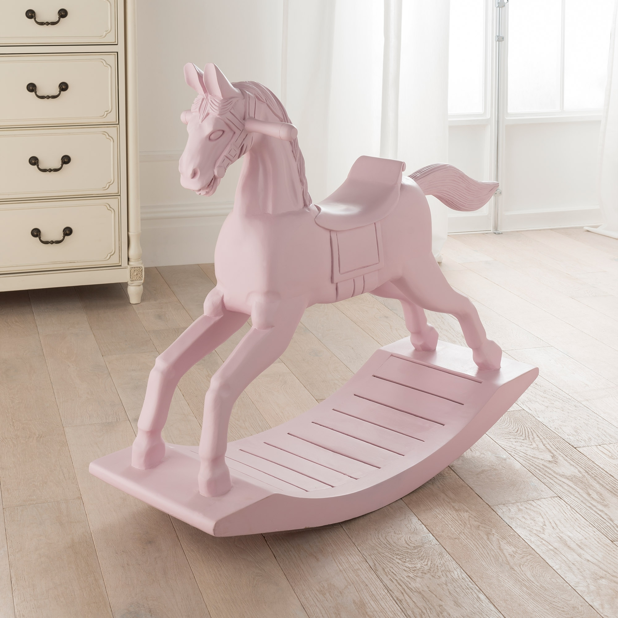 Small pink wooden rocking horse french style accessories