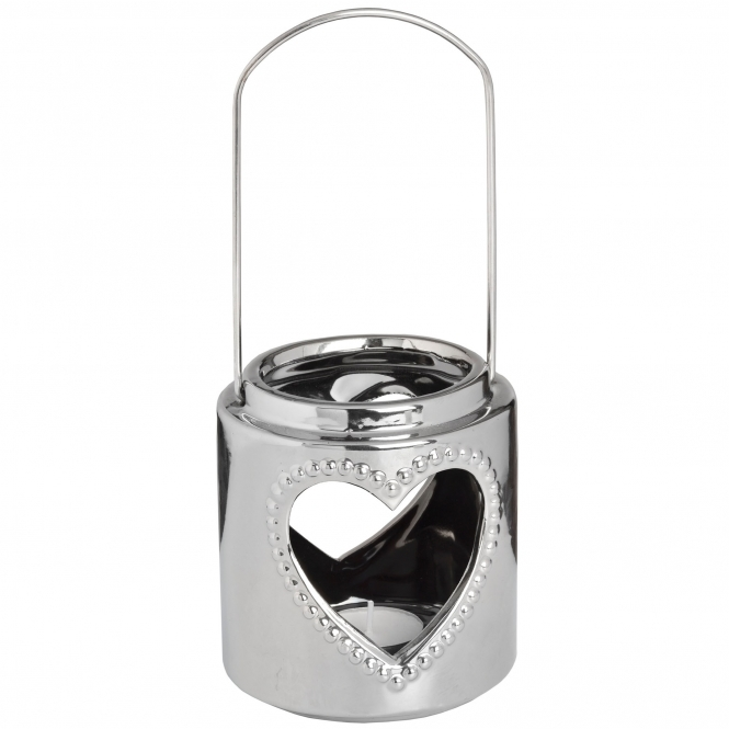Small Silver Heart Candle Holder