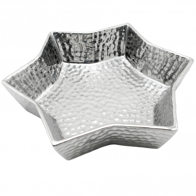 Small Silver Star Dimple Display Dish