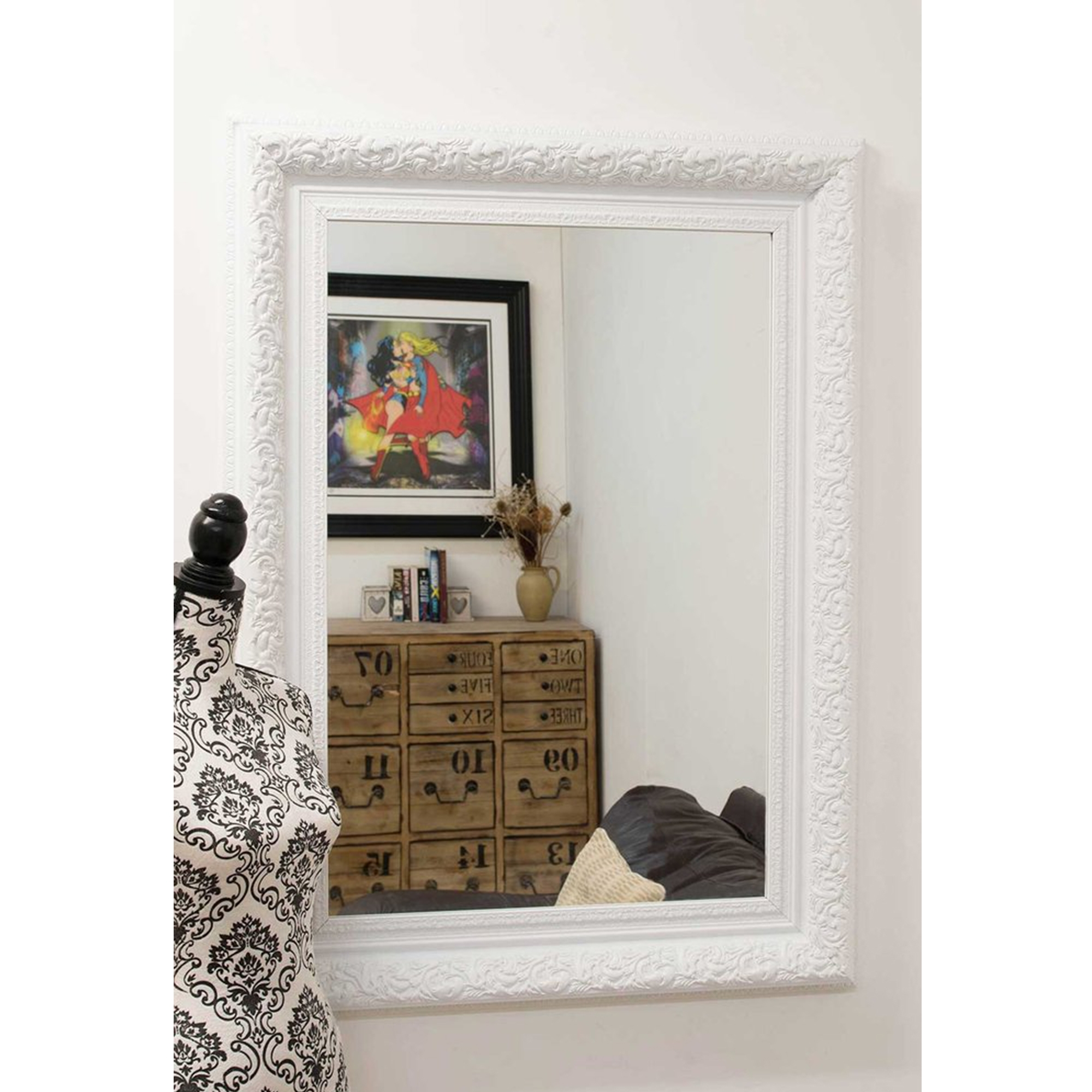 Small White Antique French Style Mirror Decorative Mirrors
