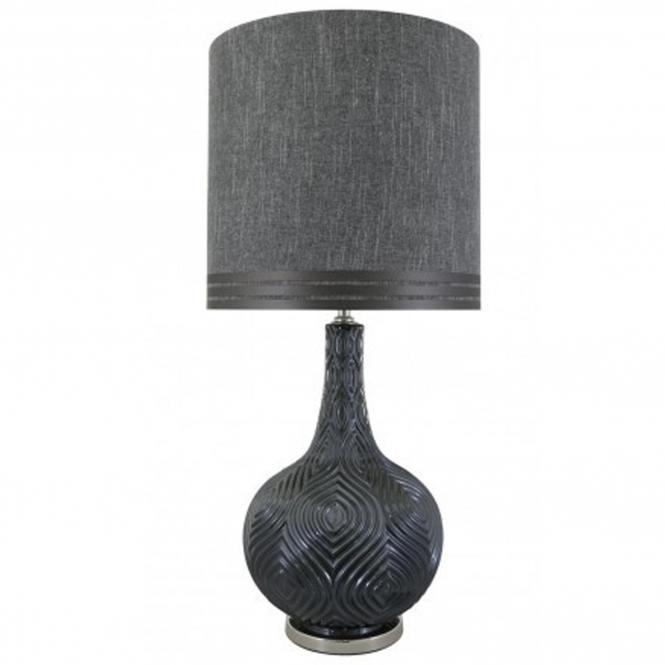 Smoked Round Decorative Table Lamp