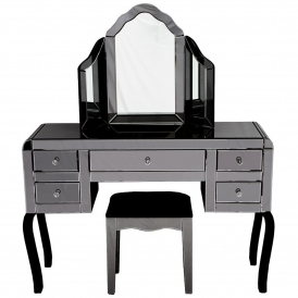 Smokey Mirrored Dressing Table Set