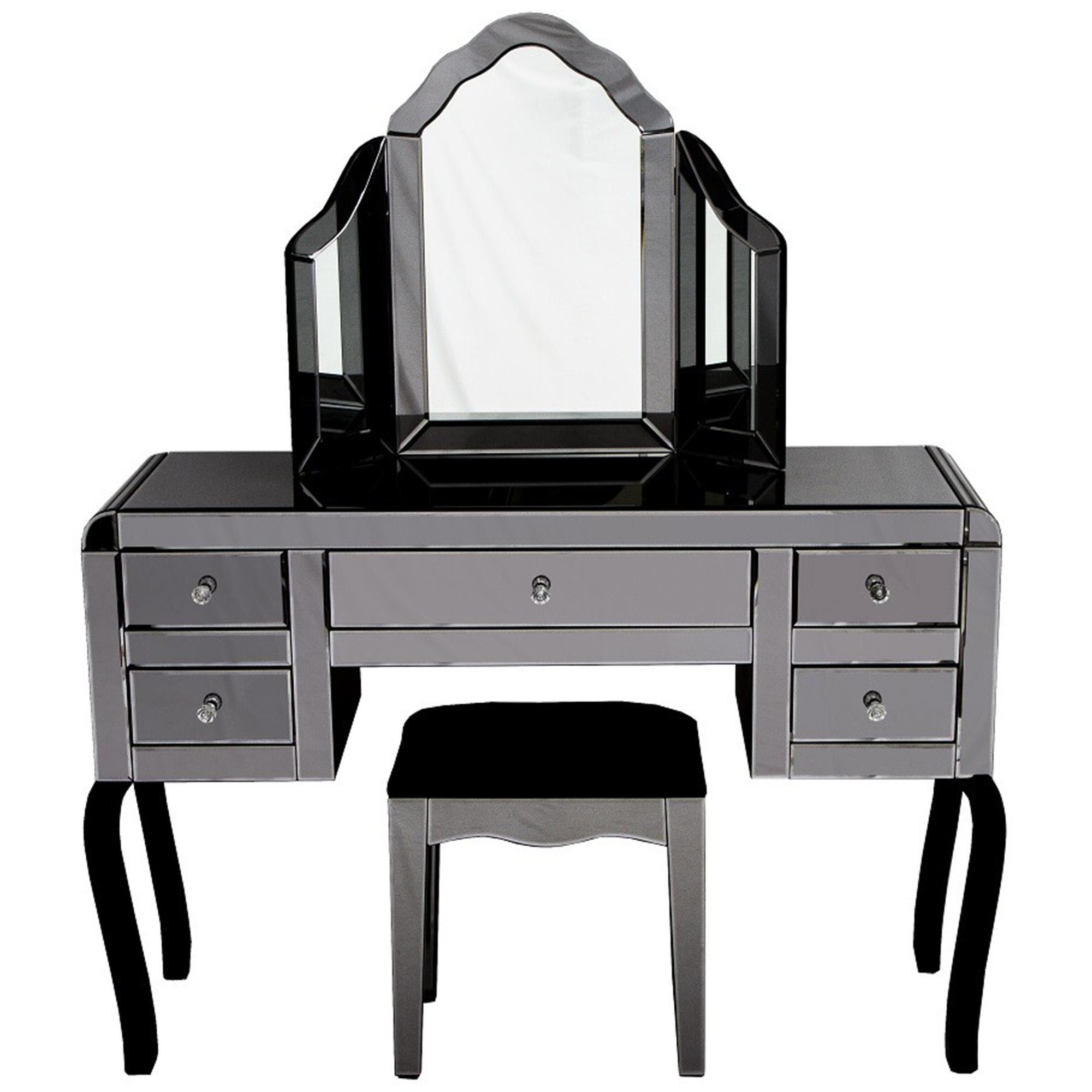 Smokey Mirrored Dressing Table Set