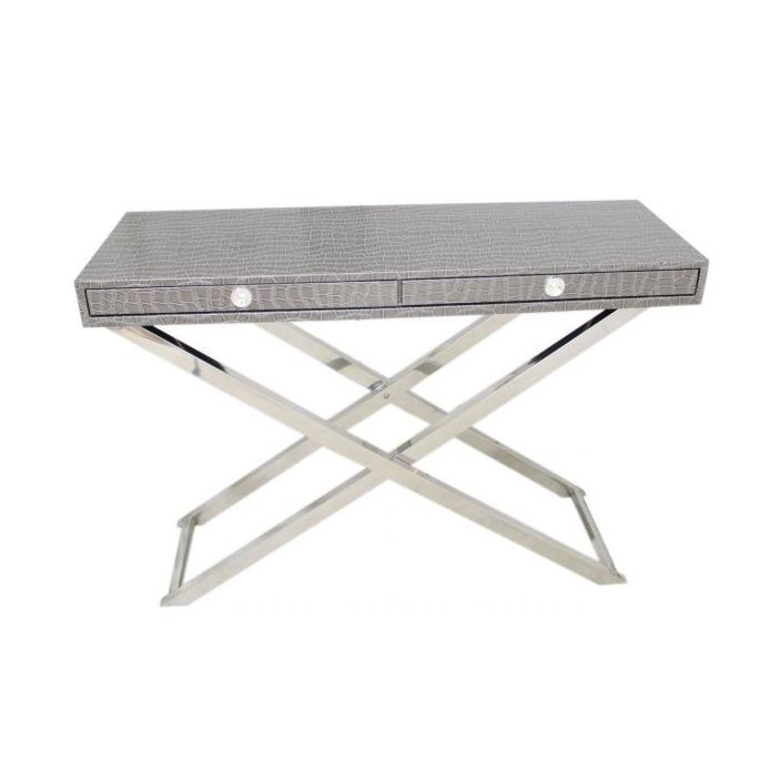 Grey snakeskin folding console table for Table console retractable