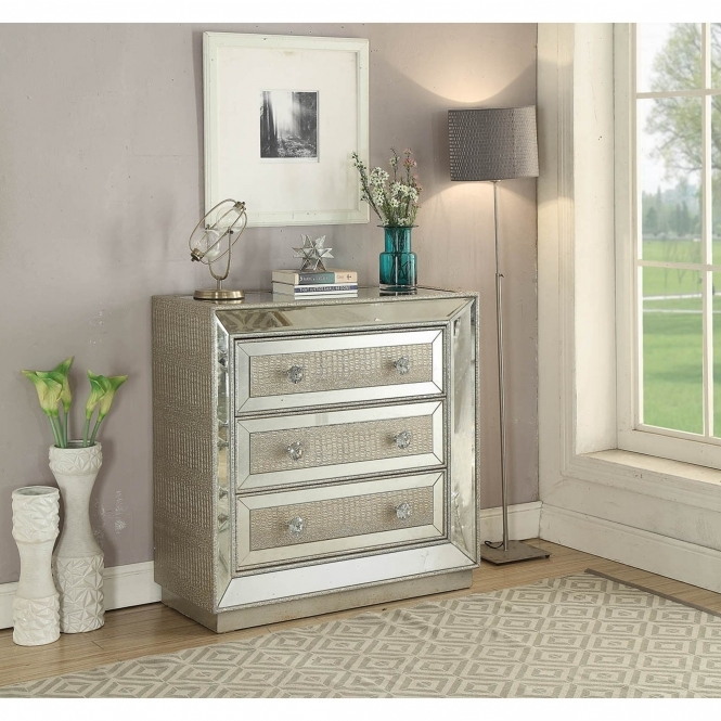 Sofia Mirrored 3 Drawer Chest