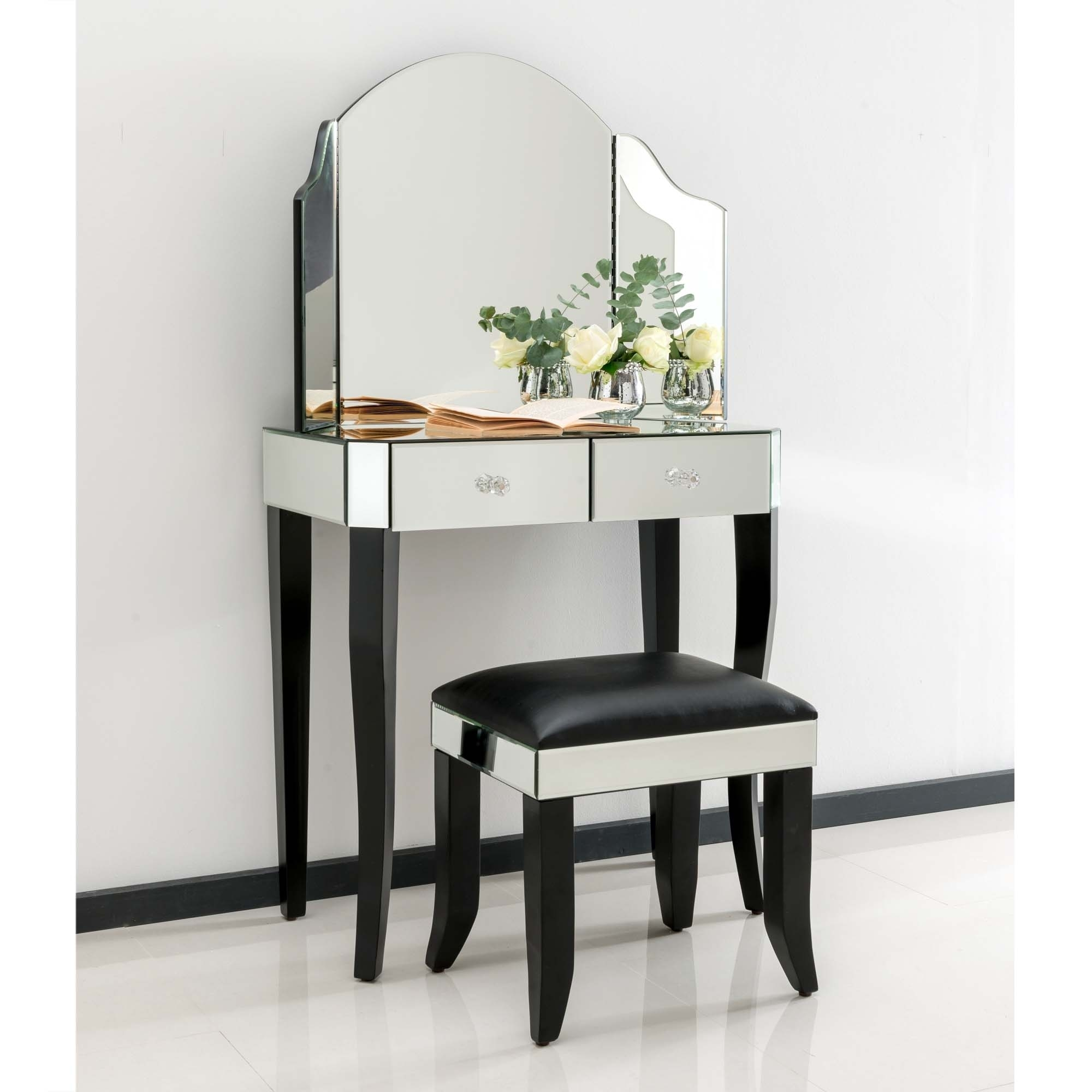 Sorrento mirrored dressing table set french furniture for Mirror table