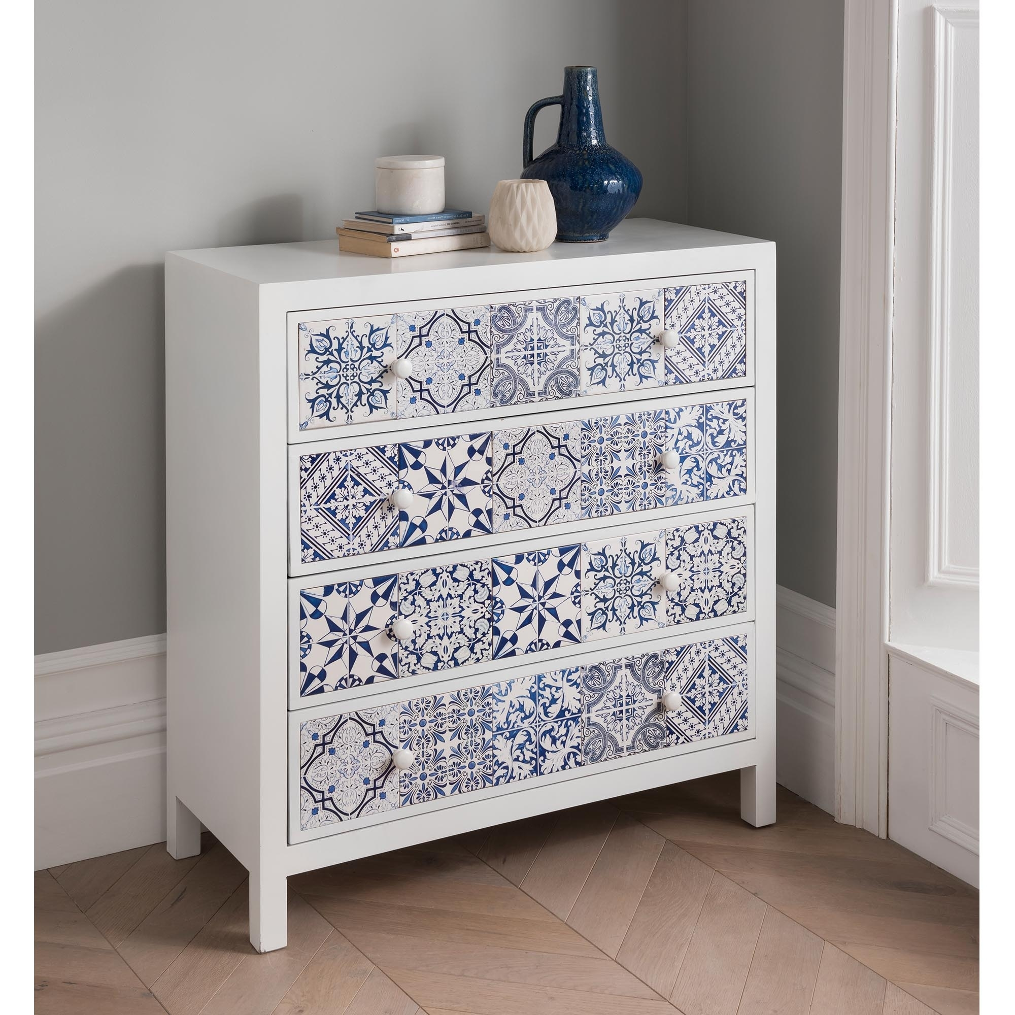 Patterned Shabby Chic 4 Drawer Chest Shabby Chic Furniture