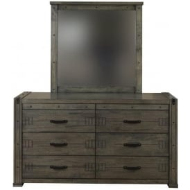 Spark Industrial Style Wide Chest Of Drawers / Mirror