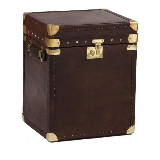 Square Brown Leather & Brass Travel Trunk