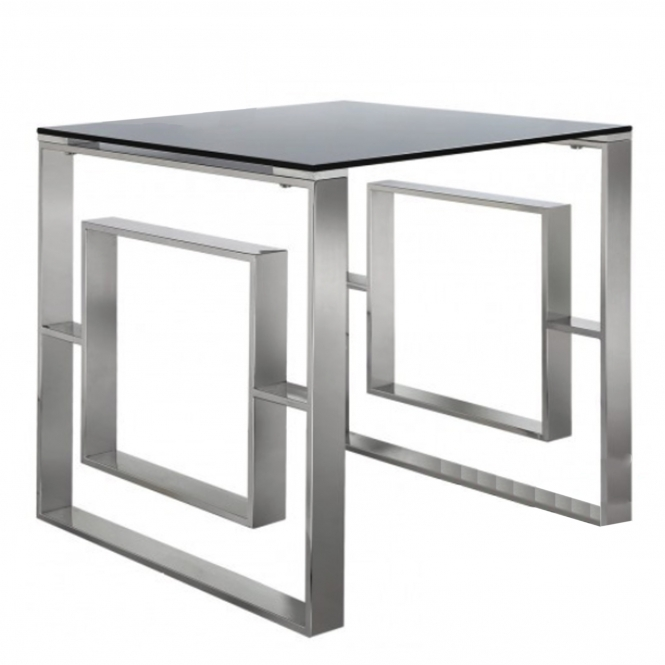 Stainless Steel & Smoked Glass Side Table