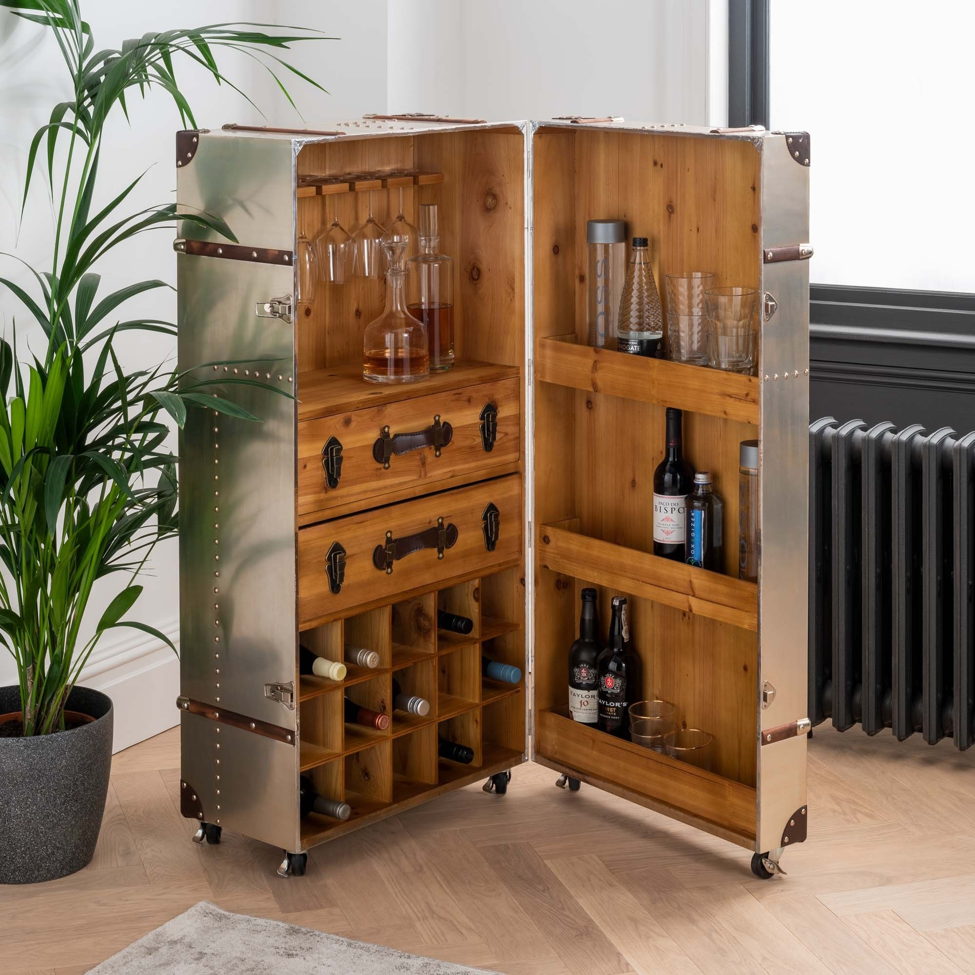 Standing Silver Trunk Drinks Cabinet Drinks Cabinet Silver Cabinet