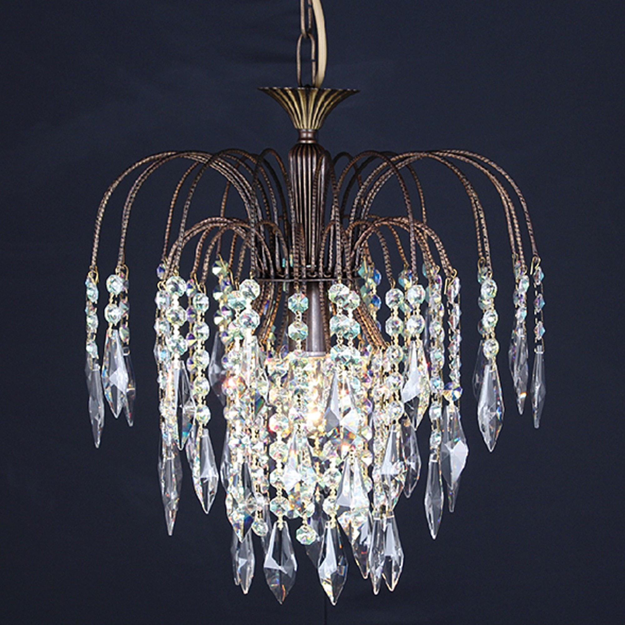Starlite Shower Flush 1 Light Crystal Chandelier In Antique Brass Modern Chandelier Crystal Chandelier