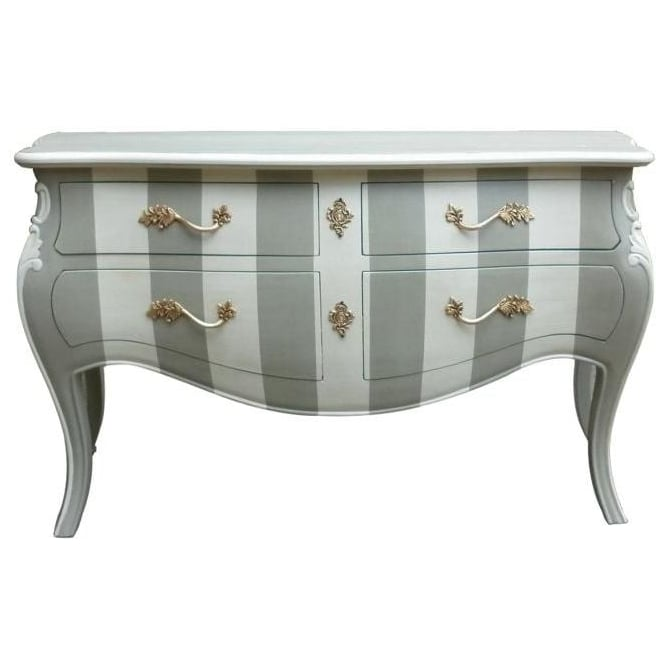 Striped Antique French Style Chest Of Drawers