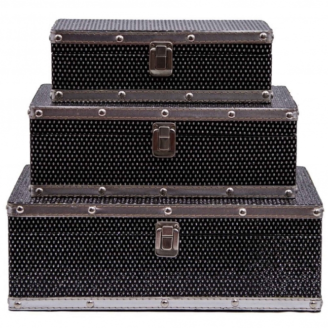 Studded Black & Silver Jewellery Box (Set Of 3)
