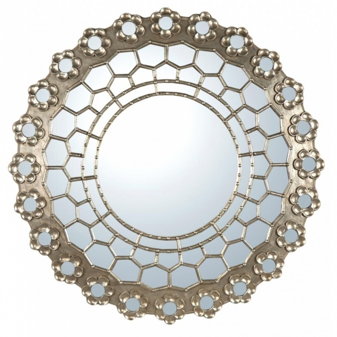Sunburst Champagne Silver Decorative Wall Mirror