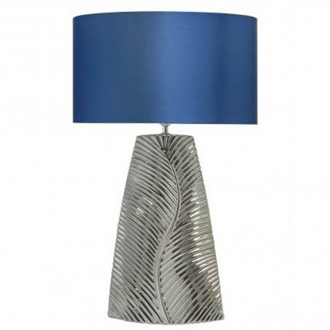 Tall Chrome Ribbed Leaf Table Lamp