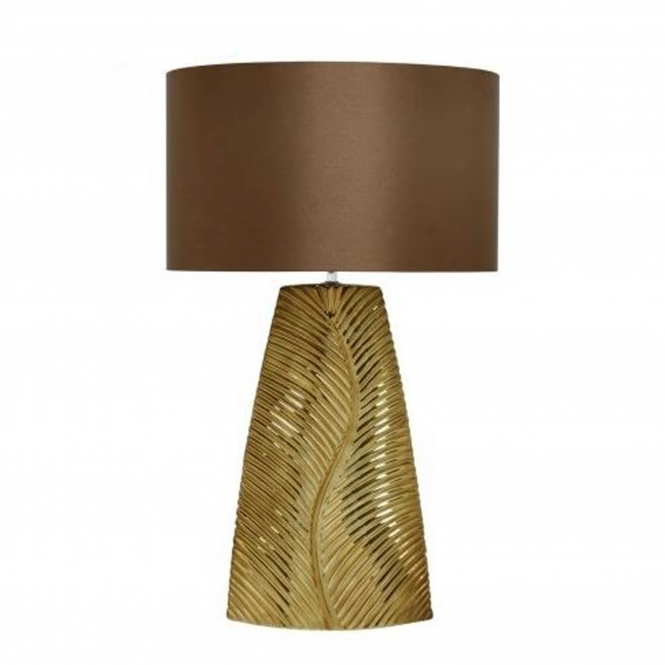 Tall Gold Ribbed Leaf Table Lamp