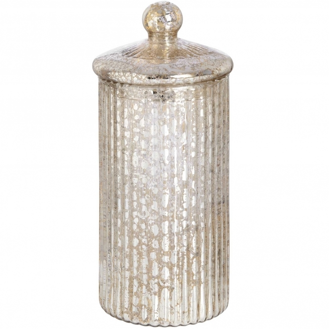 Tall Round Silver Glass Jewellery Box