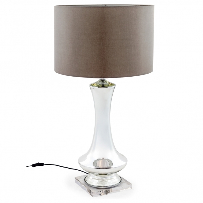 Tall Silvered Glass Lamp