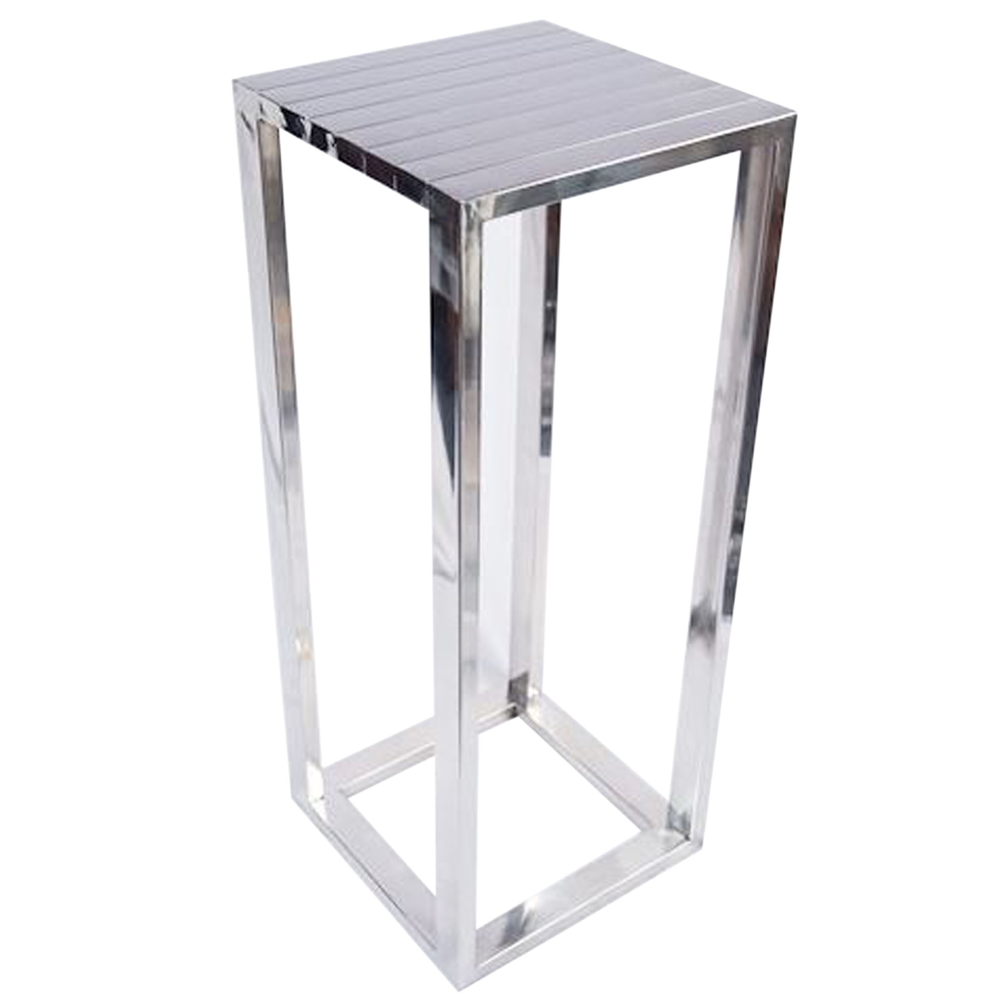 Tall steel silver plant stand