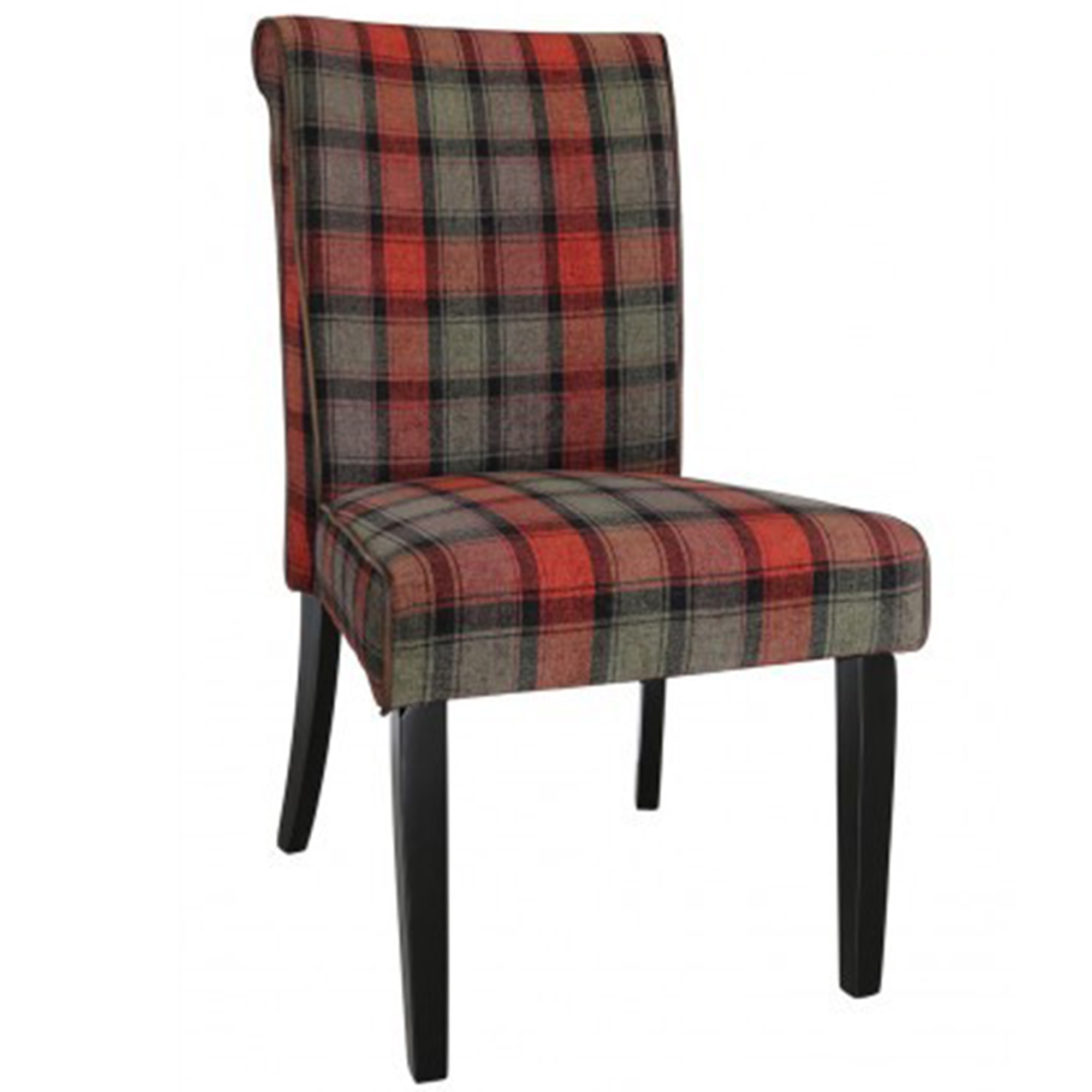 Taupe And Red Tartan Highlander Dining Chair Contemporary