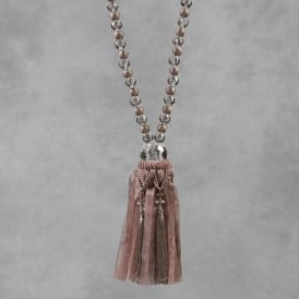 Taupe Beaded Rope Tassel