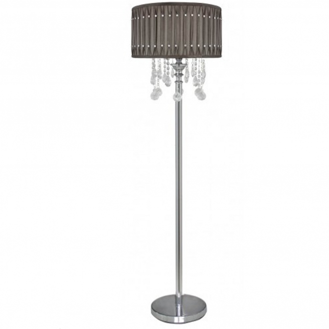 Taupe Crystal Antique French Style Floor Lamp