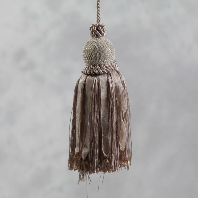 "Taupe ""Diamond"" Ball Key Tassel"
