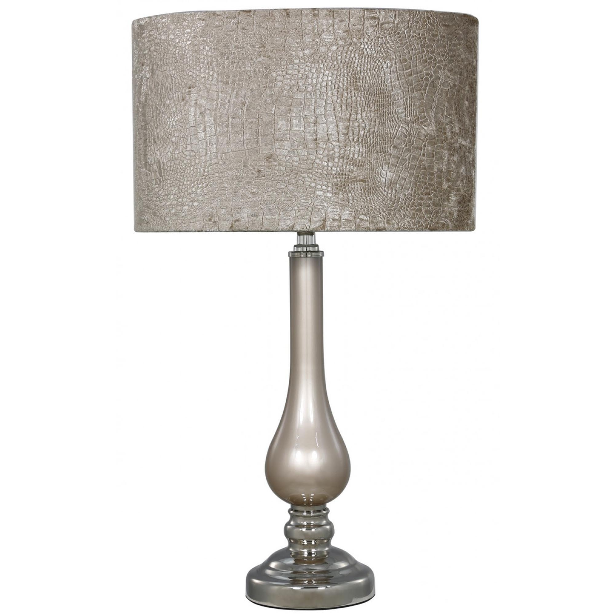 Beau Taupe Pearl Glass Table Lamp