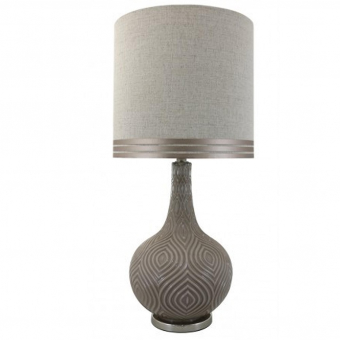 Taupe Round Decorative Table Lamp