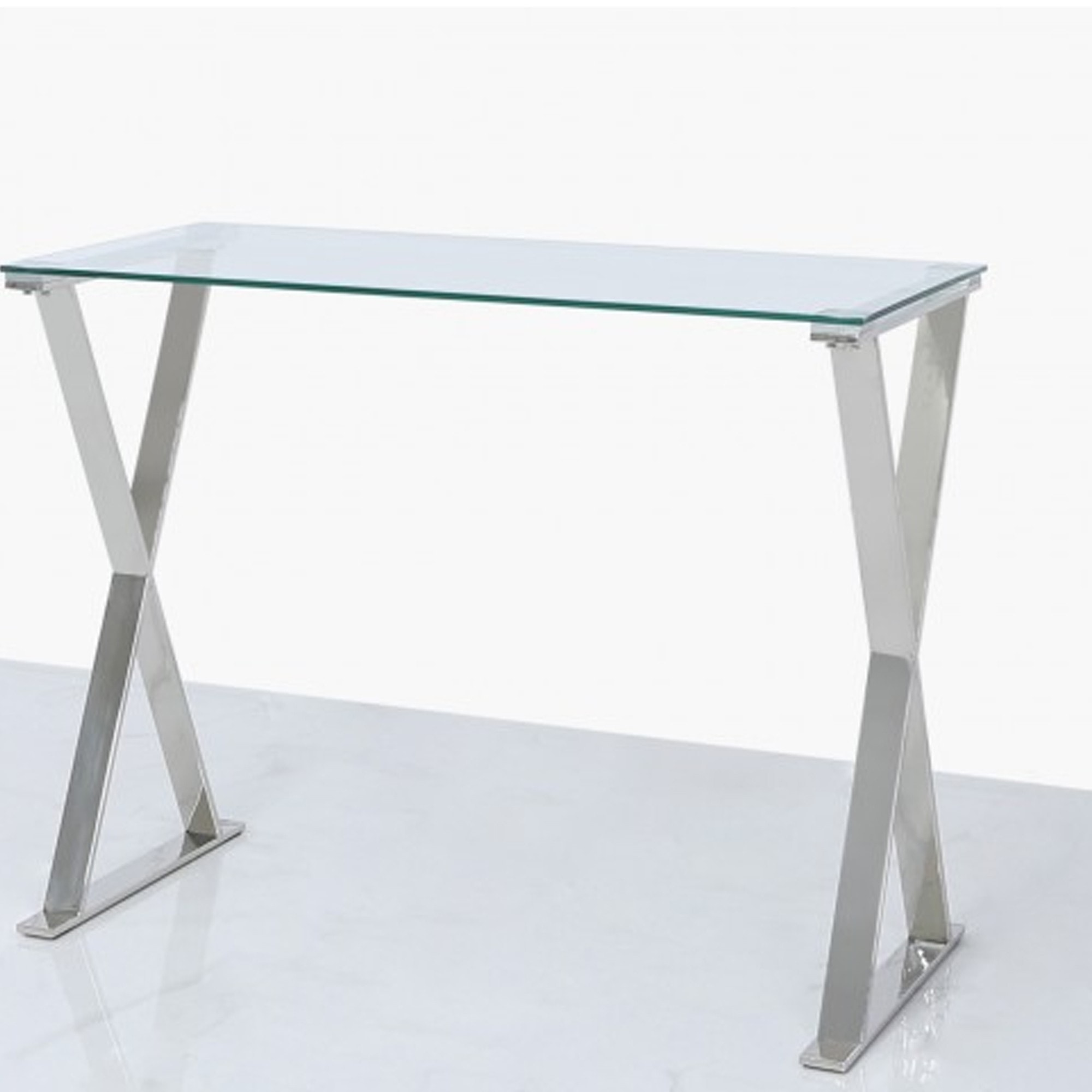 Taylor Glass And Stainless Steel Cross Desk Glass Computer Desk