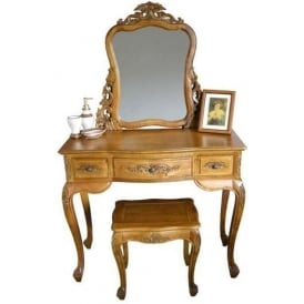 Teak Antique French Style Dressing Table Set