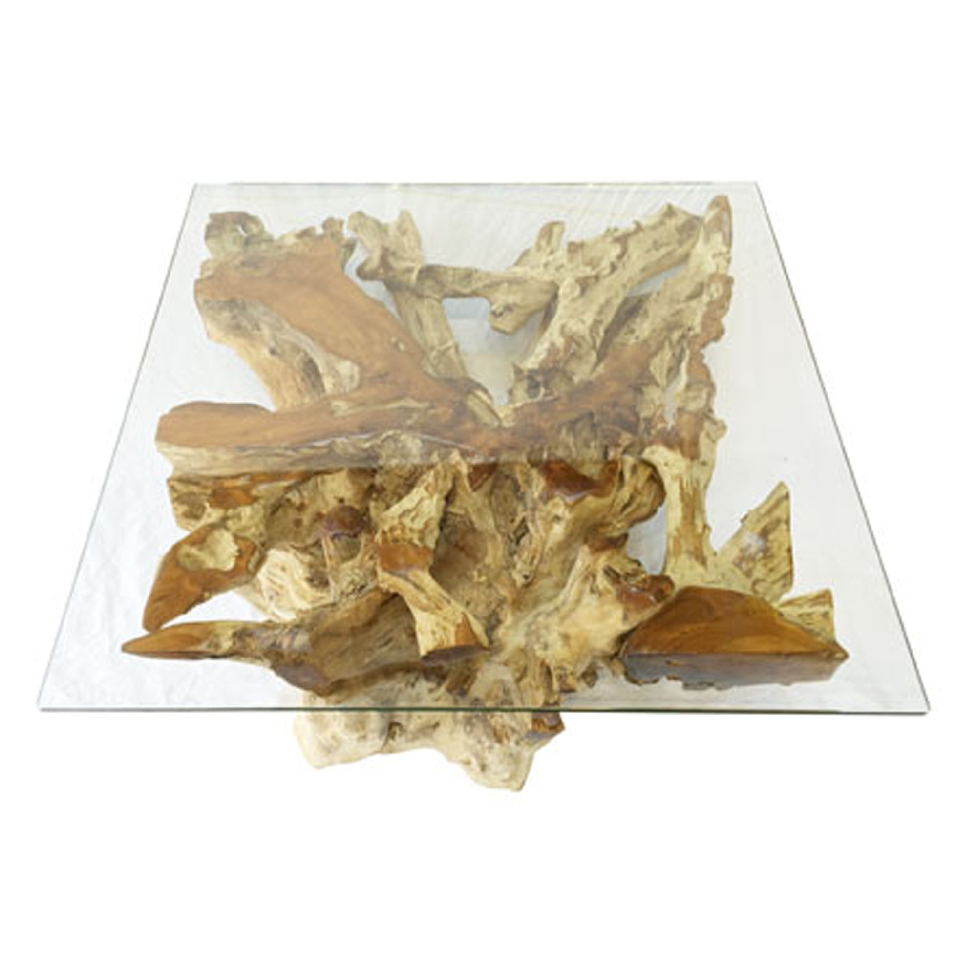 Teak Root and Glass Square Coffee Table Spider Stone Small