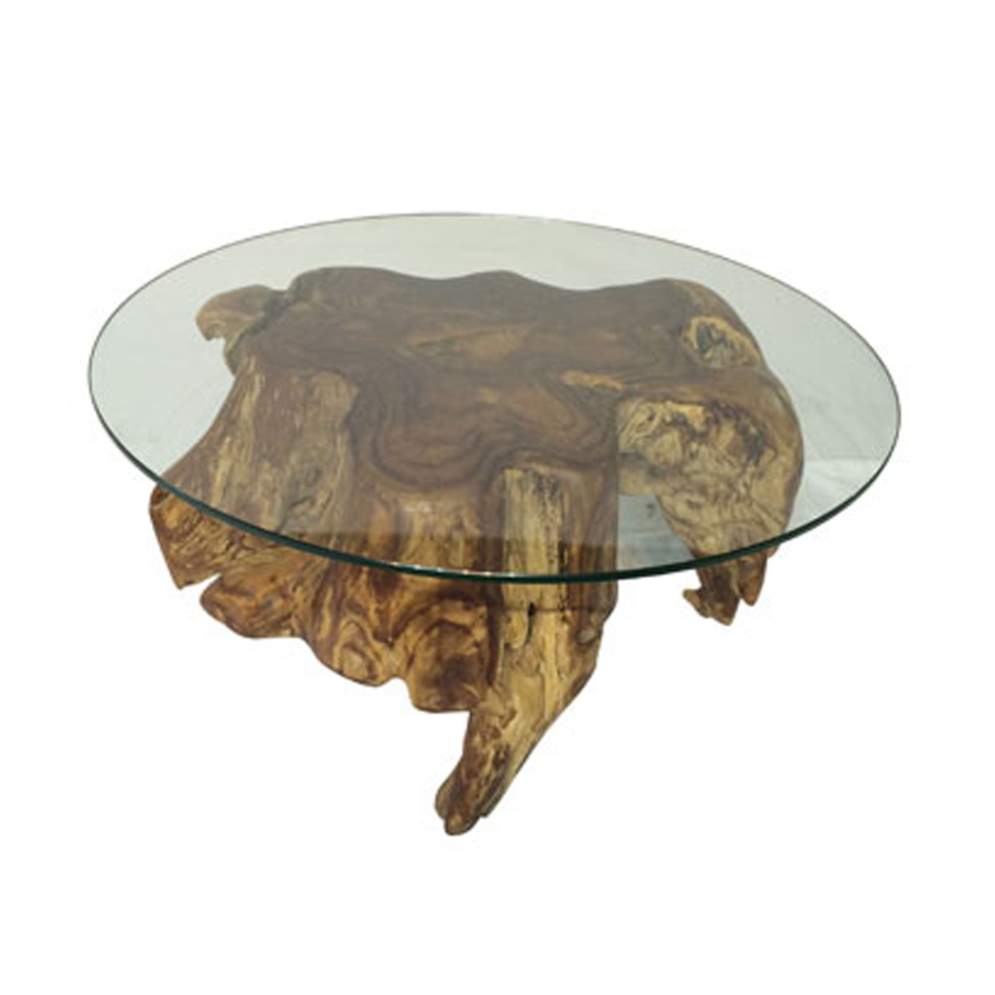 Teak Root Coffee Table Round Spider Small With Glass