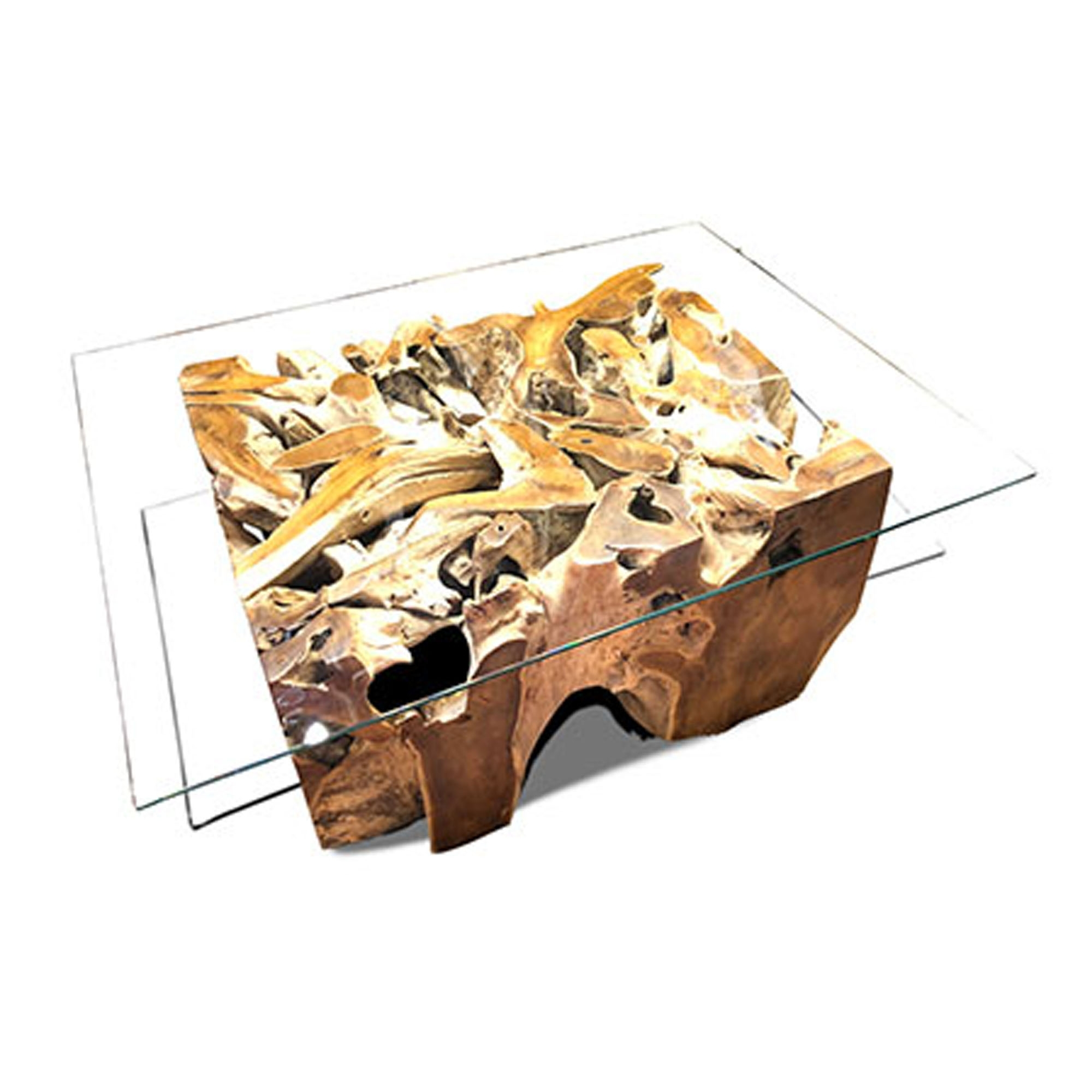 Teak Root Coffee Table Spider Stone Rectangular With Glass