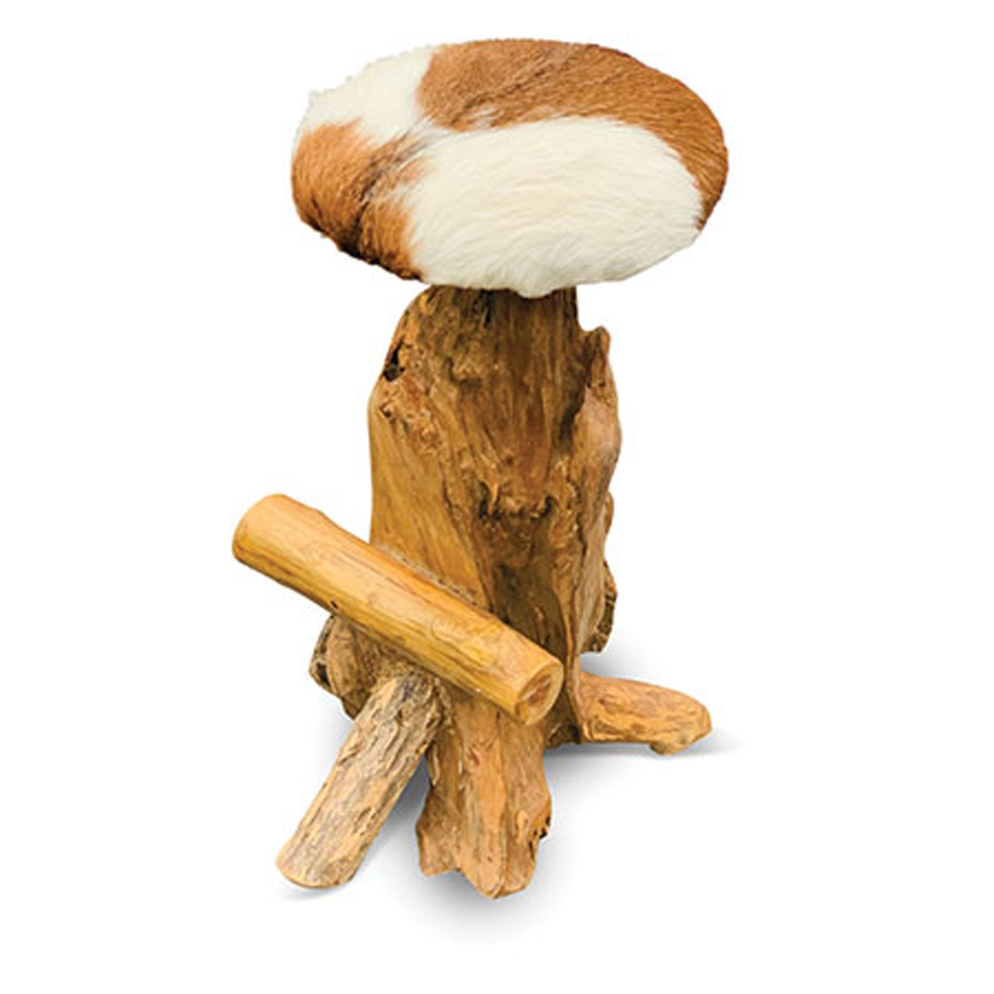 Miraculous Teak Root Round Bar Stool Goat Skin Inzonedesignstudio Interior Chair Design Inzonedesignstudiocom