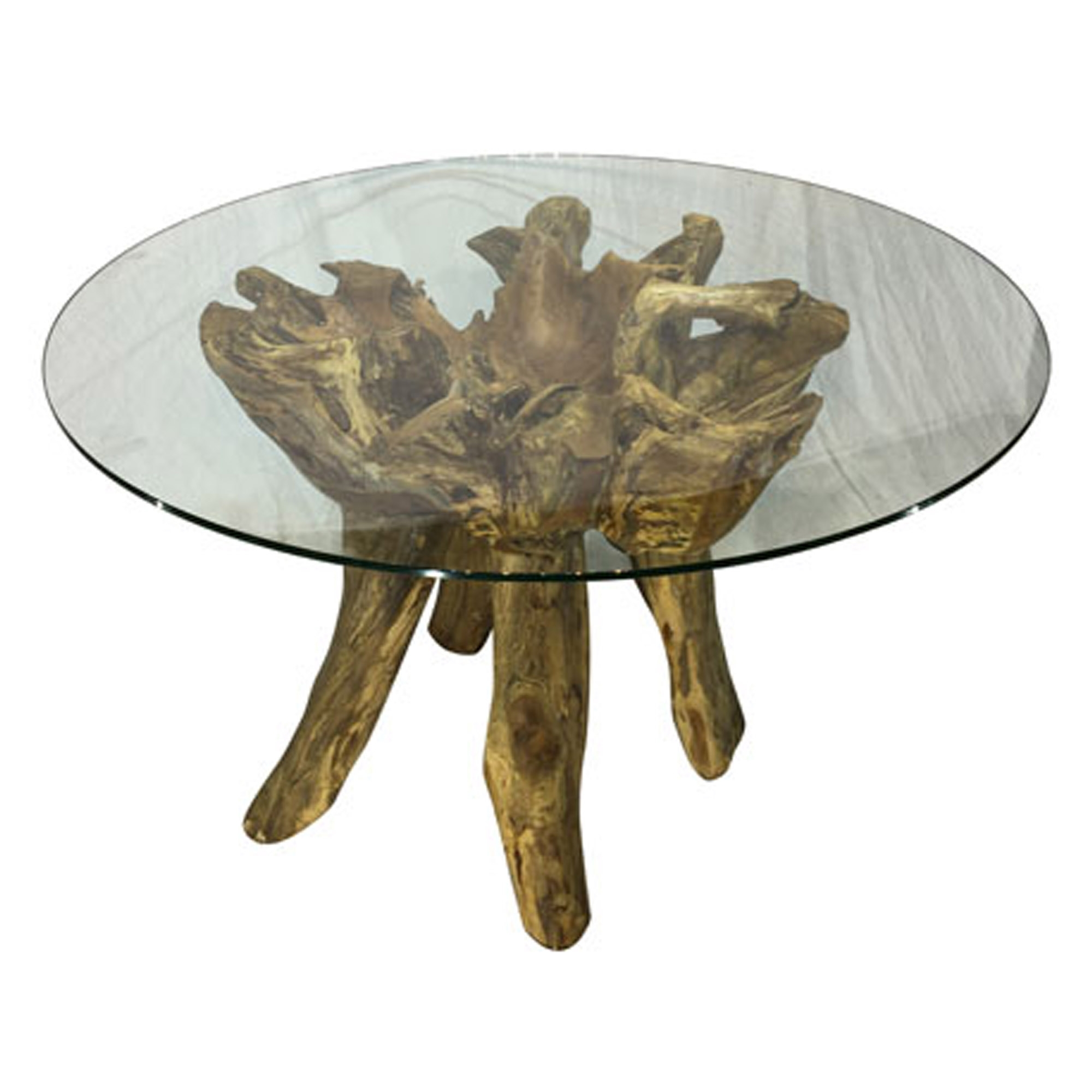 Awesome Teak Root Round Glass Dining Table Small Pdpeps Interior Chair Design Pdpepsorg